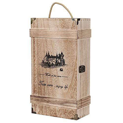 Zouminyy Soporte para Botella de Vino de 2 Botellas, Caja de Vino Tinto, portátil Retro Vintage para Fiesta de cumpleaños, inauguración de la casa, Boda, Caja de decoración