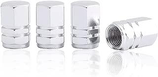 GODESON Silver Aluminum Tire Valve Stem Cap with Hexgon Style, 4 Pcs/Set, Aluminum Tire Wheel Stem Air Valve Caps for Auto Car Motorcycle Bicycle