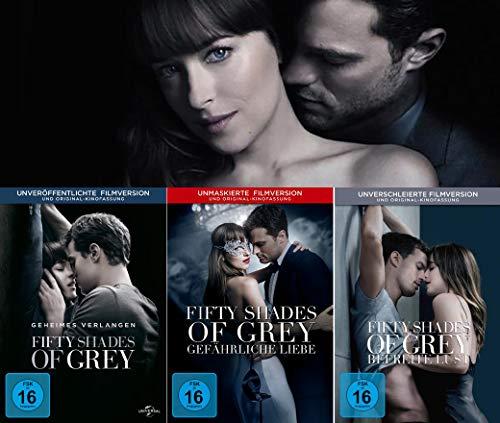 Fifty Shades of Grey - 1 Geheimes Verlangen + 2 Gefährliche Liebe + 3 Befreite Lust im Set - Deutsche Originalware [3 DVDs]