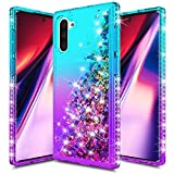 CHEETOP Galaxy Note 10 Case for Girls Women, Slim Clear Soft TPU Diamond Rhinestone Glitter Liquid Gradient Quicksand Bling Sparkle Flowing Shiny Protective Cover for Galaxy Note 10 (Sky Blue&Purple)
