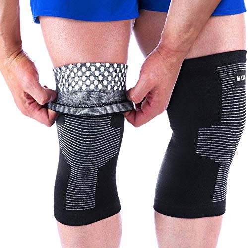 Mava Sports Reflexology Knee Compression Sleeve for Men and Women - Effective Support for Joint Pain, Arthritis Relief, Recovery and Blood Circulation - Great for Running & Walking (Black & Grey, XXXL