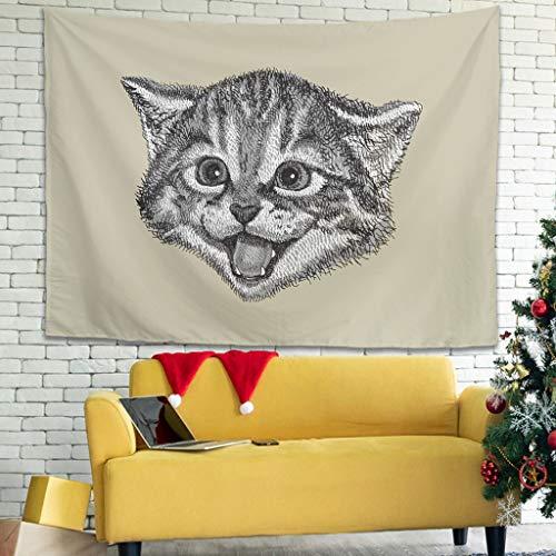 superyu Tapiz psicodélico de gatito para colgar en la pared con decoración de pared para múltiples escenas blancas, 231 x 149 cm