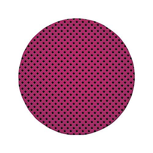 Rutschfreies Gummi-Rundmaus-Pad Magenta-Dekor Diamond Line Grill Kreuzdraht-Design-Logo Digitales New Fashion-Motivbild Schwarzes Fuchsia 7.9