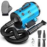 SKSYZN Secador de Pelo para Perros 3200w/4.3HP Ruido bajo Calor Ajustable y Velocidad con 1 Guante, Manguera de 2.5 M, 4 boquillas Perro Pelo Secador Profesional