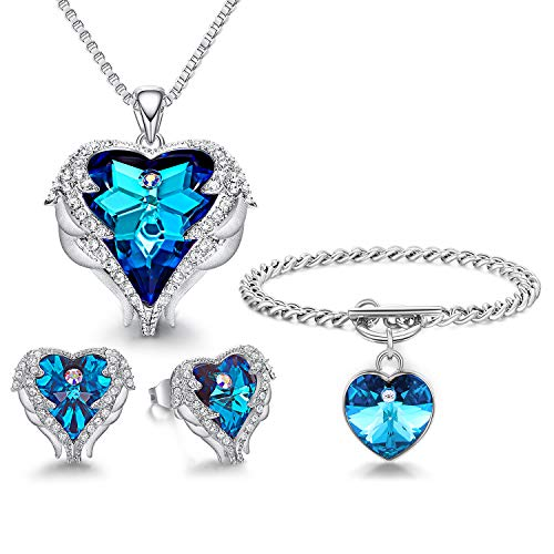 CDE Angel Wing Jewelry Set 4 Pieces Heart Pendant Necklace Stud Earrings and Bracelets Embellished with Austrian Crystals Christmas Jewelry Gifts for Mom