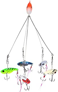 Zer one Alabama Umbrella Rigs with 5 Arms Fishing Lure Bait with Snap Swivels Junior Ultralight Multi-Lures Rig