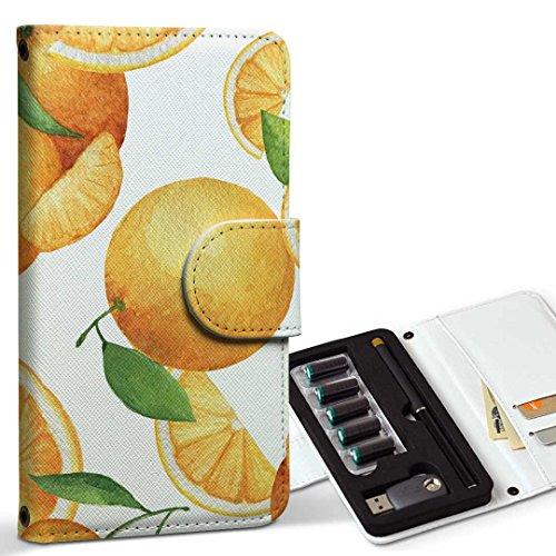 スマコレ ploom TECH プルームテック 専用 レザーケース 手帳型 タバコ ケース カバー 合皮 ケース カバー 収納 プルームケース デザイン 革 オレンジ 果物 柄 012061
