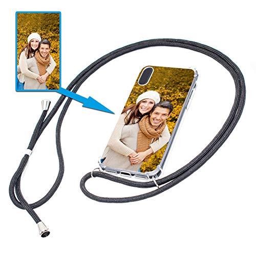 PixiPrints Personalisierte Handykette Foto-Handyhülle mit Band selbst gestalten * Bedruckt mit eigenem Foto und Text, Kompatibel mit Apple iPhone XS Max, Farbe: Schwarz