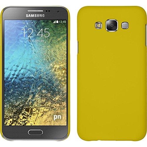 PhoneNatic Case kompatibel mit Samsung Galaxy E7 - Hülle gelb gummiert Hard-case + 2 Schutzfolien