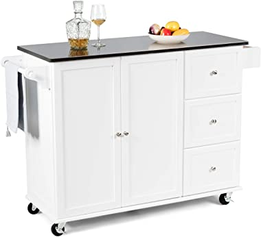 Giantex Kitchen Cart with Stainless Steel Countertop, Kitchen Island Rolling Trolley with Towel Holder and Spice Rack, 3 Drawers, Adjustable Shelves, 2-Door Cabinet, Ample Storage Space (White)