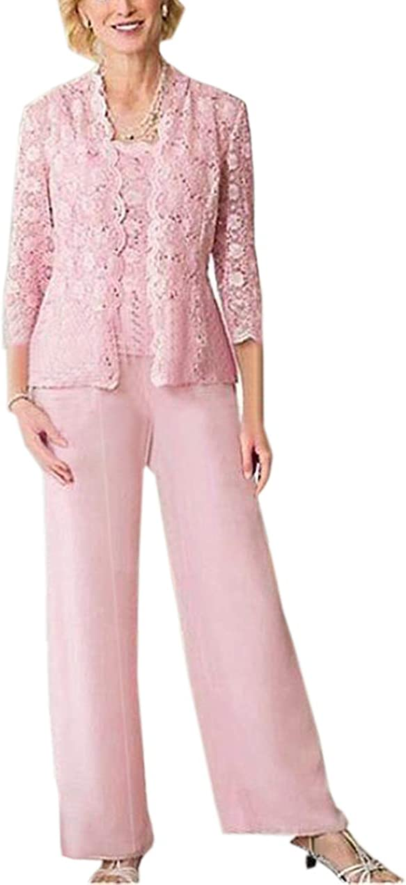 Formal 3 Pieces Women's Chiffon Mother of The Bride Dress Pants Suit Lace Jacket with 3/4 Long Sleeves Evening Dresses