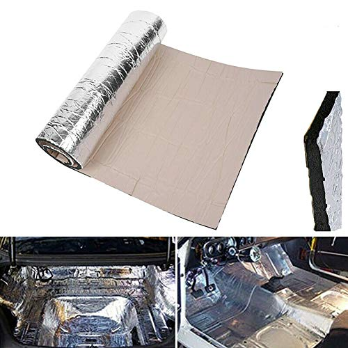 BonTime Vehículo insonorizado Forro de Aluminio Papel Adhesivo 10 mm Espesor Espuma Aislamiento térmico Aislamiento térmico Acústico Impermeable Impermeable Amortiguador de Sonido