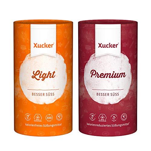 Xucker Premium und Xucker Light - Xylit und Erythrit Zuckerersatz als Vegane & zahnfreundliche Zucker Alternative zum Kochen & Backen I Natürliche Süße
