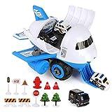 BeebeeRun Aereo Giocattolo da Assemblare con 4 Mini Veicoli Auto Polizia, Macchinine Giocattolo Giochi educativi Regalo per Bambini