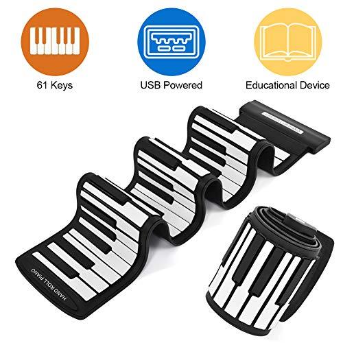 Diyeeni Piano con 61 Teclas Teclado Midi Profesional, USB portátil Teclado Enrollable Midi Teclado electrónico Rueda Manual Piano, sin Unidad, Compatible con conexión en Caliente