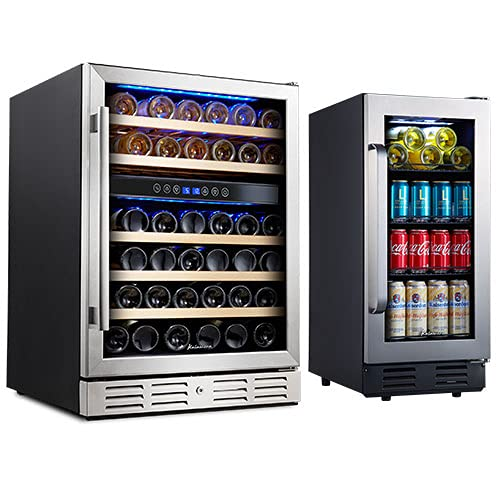 Kalamera Wine Cooler Refrigerator Mini Fridge - 15' & 24' Beverage Cooler and Wine Cooler Refrigerator