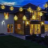 Guirnalda Luces Exterior, 7M 50 LED Solar Cadena de Luces Bola Cristal, 8 Modos IP65 Impermeable, Decoración para Interior/Exterior, Navidad, Fiestas, Bodas, Patio, Jardín, Festivales (Blanco Cálido)
