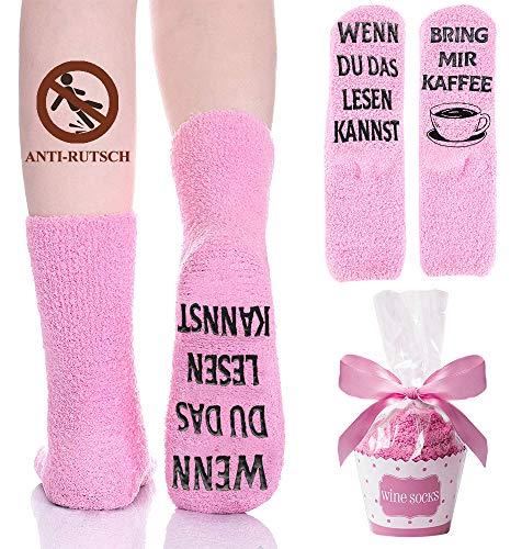 Kuschelsocken, Anti Rutsch Lustige Socken Damen Geschenke für Frauen, Wenn du das lesen Kannst Bring Mir Kaffee Fun Socken Witzige Geburtstagsgeschenk für Freundin Valentinstag Muttertag