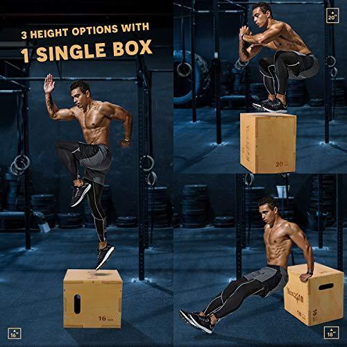 Yes4All Wood Plyo Box/Wooden Plyo Box for Exercise, Crossfit Training, MMA, Plyometric Agility – 3 in 1 Plyo Box/Plyo Jump Box (20/18/16)