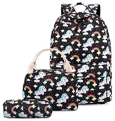 Mochila Unicornio Niña Escolar Impermeable para Preescolar Infantil Pequeñas Niño Chicas La Escuela Adolescente (3-Negro 3PCS)