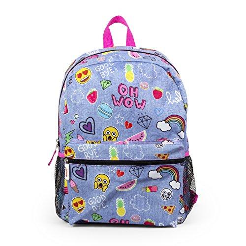 Emoji Denim Blue Sticker 16' Inch Backpack School Bag