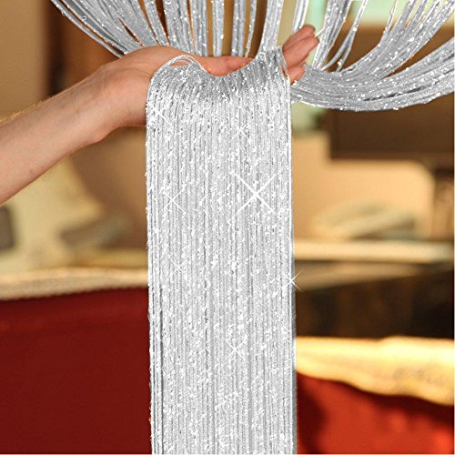 Cortinas con flecos brillantes, cortinas de hilo plateado, para divisores de habitación, puertas y ventanas (200 x 100 cm, plateadas)