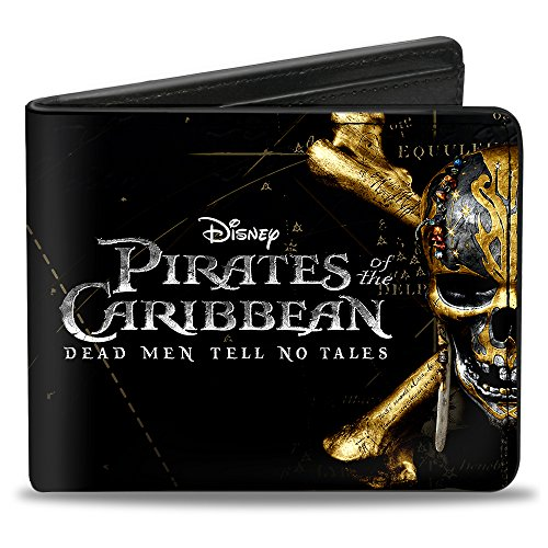 Buckle-Down Men's PIRATES OF THE CARIBBEAN DEAD MEN TELL NO TALES Skull Accessory, pirates of the caribbean dead MEN TELL no TALES skull icon black/Silvers/Golds, Standard Size