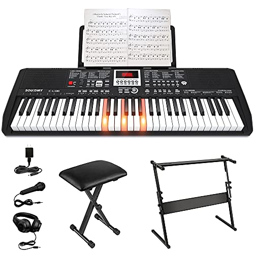 SOUIDMY C-L100 Music Keyboard Piano for Beginners, 61 Key Keyboard with Lighting Keyboard, Portable Keyboard Kits include Stand, Bench, Music Rest, Headphone, Microphone and Note Stickers