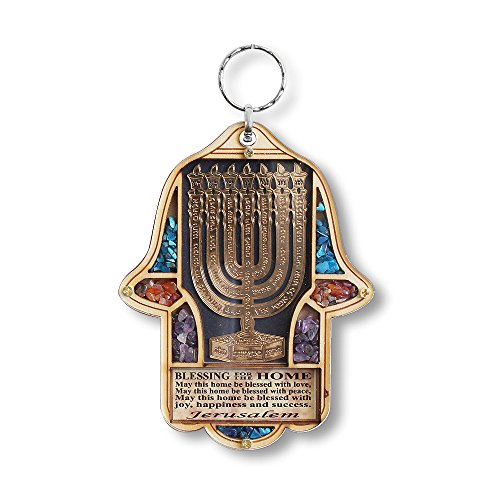 My Daily Styles Jewish Wooden Hamsa Menorah Blessing for Home – Good Luck Wall Decor con finte Pietre preziose