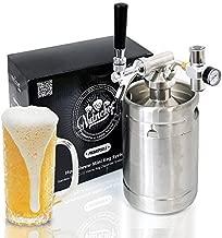 Pressurized Beer Mini Keg System - 64oz Stainless Steel Growler Tap, Portable Mini Keg Dispenser Kegerator Kit, Co2 Pressure Regulator Keeps Carbonation for Craft Beer, Draft and Homebrew - NutriChef