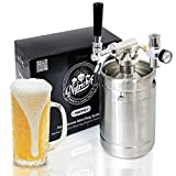 Pressurized Beer Mini Keg System - 64oz Stainless Steel Growler Tap, Portable Mini Keg Dispenser Kegerator Kit, Co2 Pressure Regulator Keeps Carbonation for...