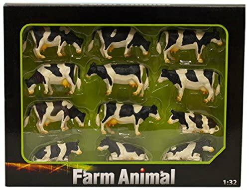 Kids Globe- Lot de 12 Vaches Miniatures, KIDS1929, Les Couleurs Peuvent légèrement variées