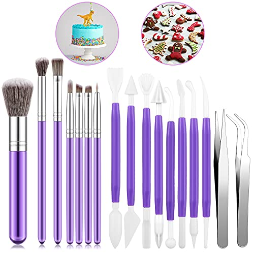 16 Pieces Cake Decorating Tools Set, Include Cookie Decoration Baking Brushes, Fondant Gum Paste Tools with Stainless Steel Straight and Curved Tip Tweezers for Biscuit Dessert Cake Decorating