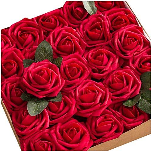SilenceID 25 Pezzi di Sapone Fiore di Rosa profumato Floreale Bagno di Rose Fiore Ospiti a Forma di Sapone Petali Migliori Regali per Anniversario/Compleanno/Matrimonio/Scatola di San Rosso