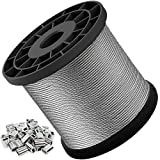 Wire Rope, 1/16 Wire Rope, 304 Stainless Steel Cable, Aircraft Cable, 328 Feet with 150 Pcs Aluminum Sleeves, 7x7 Strand Core, 368 lbs Breaking Strength, Suitable for String Lights, Clotheslines