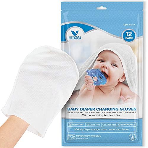 Medcosa - Manoplas húmedas para bebés   Toallitas desechables en forma de guante para limpiar a bebés y niños pequeños (12 unidades)   Toallitas suaves para las manos, la cara y el cuerpo [1 paquete]