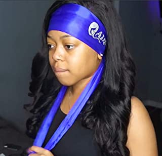 Edge Laying Scarf Wrap for Black hair   Satin Edge Setting Scarf for Lace Wigs & Frontals Scarf (Blue 1 piece)