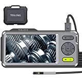 Inspection Camera, [Upgraded] Teslong Borescope-Endoscope Camera, 5mm Dual Camera with 5 inch HD IPS Screen, 16.4ft Waterproof Cable with 6 LED Lights, Snake Camera with Flashlight, 32GB, Travel Case