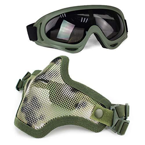 Aoutacc Juego de máscaras y Gafas Airsoft, máscara de Malla de Acero Completa de Media Cara y Gafas para CS/Caza/Paintball/Disparos (AOR2)