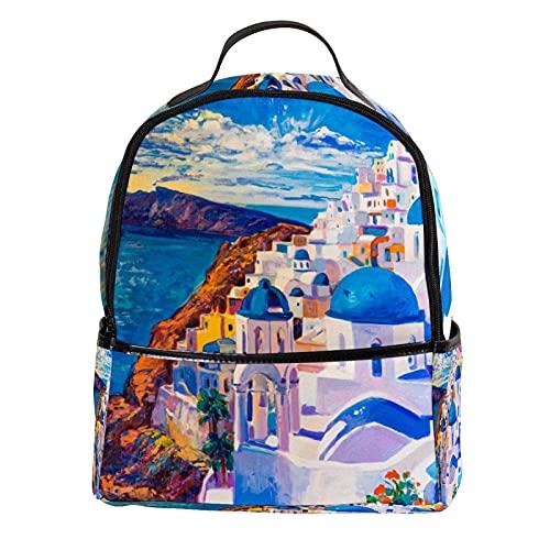 ATOMO Zaino Casual Mini Isola Città Olio Pittura Bella PU Cuoio Viaggio Shopping Borse Daypacks