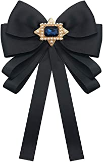 Ribbon Crystal Neck Tie Brooch Pin Bow Tie for Men Women, Patriotic Collar Jewelry Gifty Gift