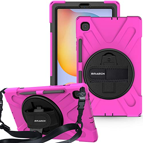 BRAECN Samsung Galaxy Tab S6 Lite 10.4 Case for Kids, Heavy Duty Rugged Cover with [Handle Hand Strap] [Shoulder Strap] [Kickstand] [S Pen Holder] for Galaxy Tab S6 Lite 10.4 2020 SM-P610 SM-P615-Rose