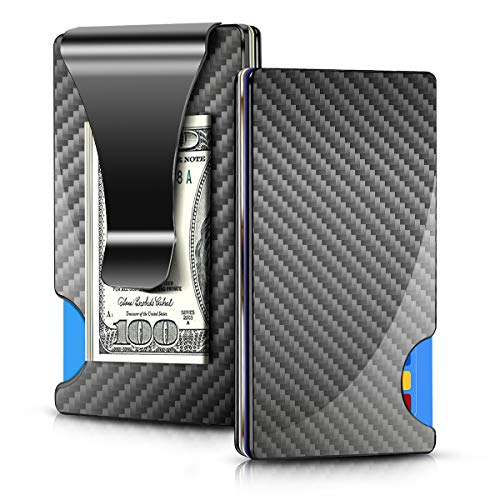 Minimalist Wallet Carbon Fibre, Elivebuy Small Slim Wallet & RFID Blocking Front Pocket Wallet?Thin Money Clip Wallets for Men Women and Boys