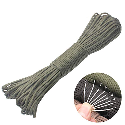 GeGeDa Paracord 9 Core 550 Parachute Cord Camping Rope 100FT