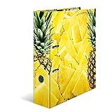 HERMA 7113 Motiv-Ordner DIN A4 Früchte Ananas, 7 cm breit aus stabilem Karton mit hochwertigem Innendruck, Ringordner, Aktenordner, Briefordner, 1 Ordner