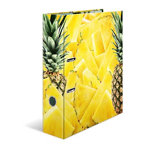 HERMA 7113 ordner DIN A4 vruchten ananas, 7 cm breed, stevig karton, gekleurde buiten- en interne print in hoogwaardig design, ringmap, ordner, ordnernermap met motief