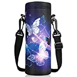 ToLuLu Water Bottle Carrier Bag Case, Insulated Neoprene Water Bottle Holder Cover 1000ML with Adjustable Shoulder Strap, Sling Sleeve Pouch for Stainless Steel Glass Plastic Bottles, Arts Butterfly