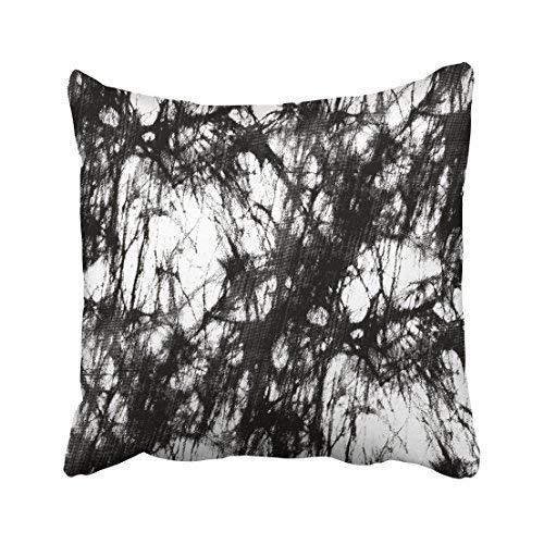 Funda de almohada decorativa para el hogar, 18 x 18 cm, abstracta en blanco y negro batik abstracto, algodón acrílico, teñido oscuro, geométrico, fundas de cojín cuadradas decorativas para sofá, accesorio para el hogar, regalos