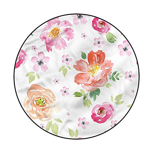 Floral Soft Indoor Modern Rugs for Girls Rooms Garden Flowers Roses Tulips 4'
