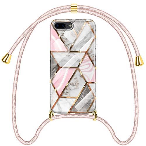 SAMCASE Coque pour iPhone 7 Plus/iPhone 8 Plus Marbre, Étui de Protection avec Cordon de Collier, Ultra Mince Motif Marbre Housse en TPU Souple et PC Dur avec Cordon Réglable Lanyard, Or Rose